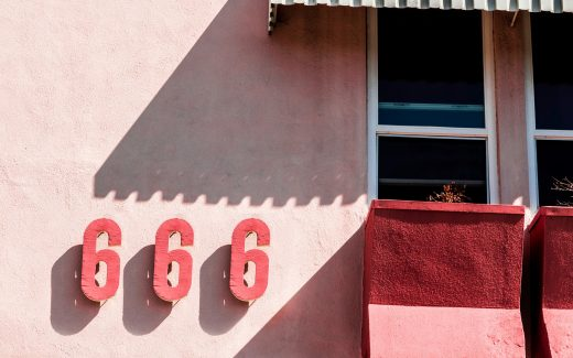 Pink hotel with 666 on the side. Half term: heaven or hell?