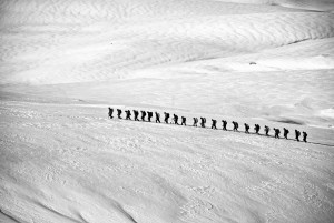 Group of walkers walking in a long line across snow.  The view from the top