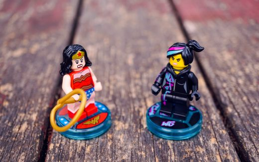 Wonderwoman and another lego minifigure looking angrily at each other