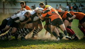 Two teams of men in a rugby scrum.  For more posts like this, follow Secrets of Heaven on Facebook