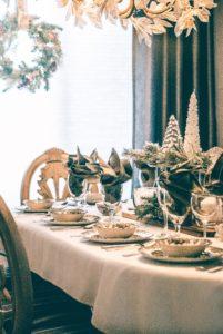 Table set for Christmas dinner.  Yorkshire puddings for Christmas dinner: yes or no?
